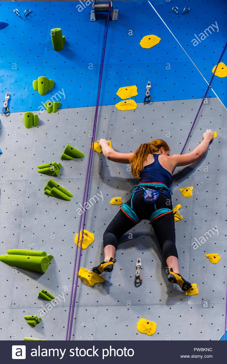 The new Earth Treks indoor rock climbing gym in Englewood, Colorado (suburb of Denver) USA; at 53,000 square feet is the largest rock climbing gym in  - Stock Image
