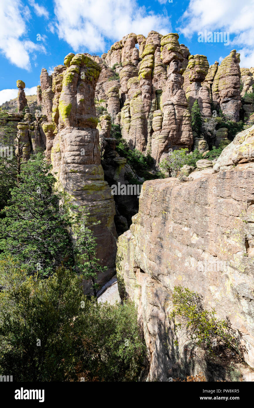 Rhyolite formations in Chiricahua National Mounument, Arizona - Stock Image