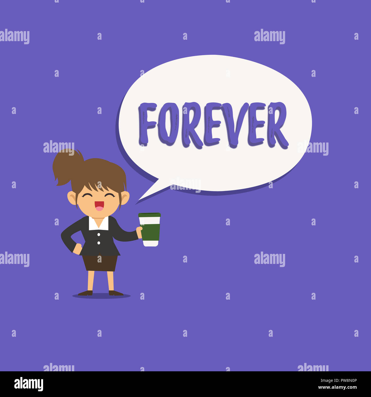 Text sign showing Forever. Conceptual photo Everlasting Peranalysisent Always for future time endless Eternal. - Stock Image