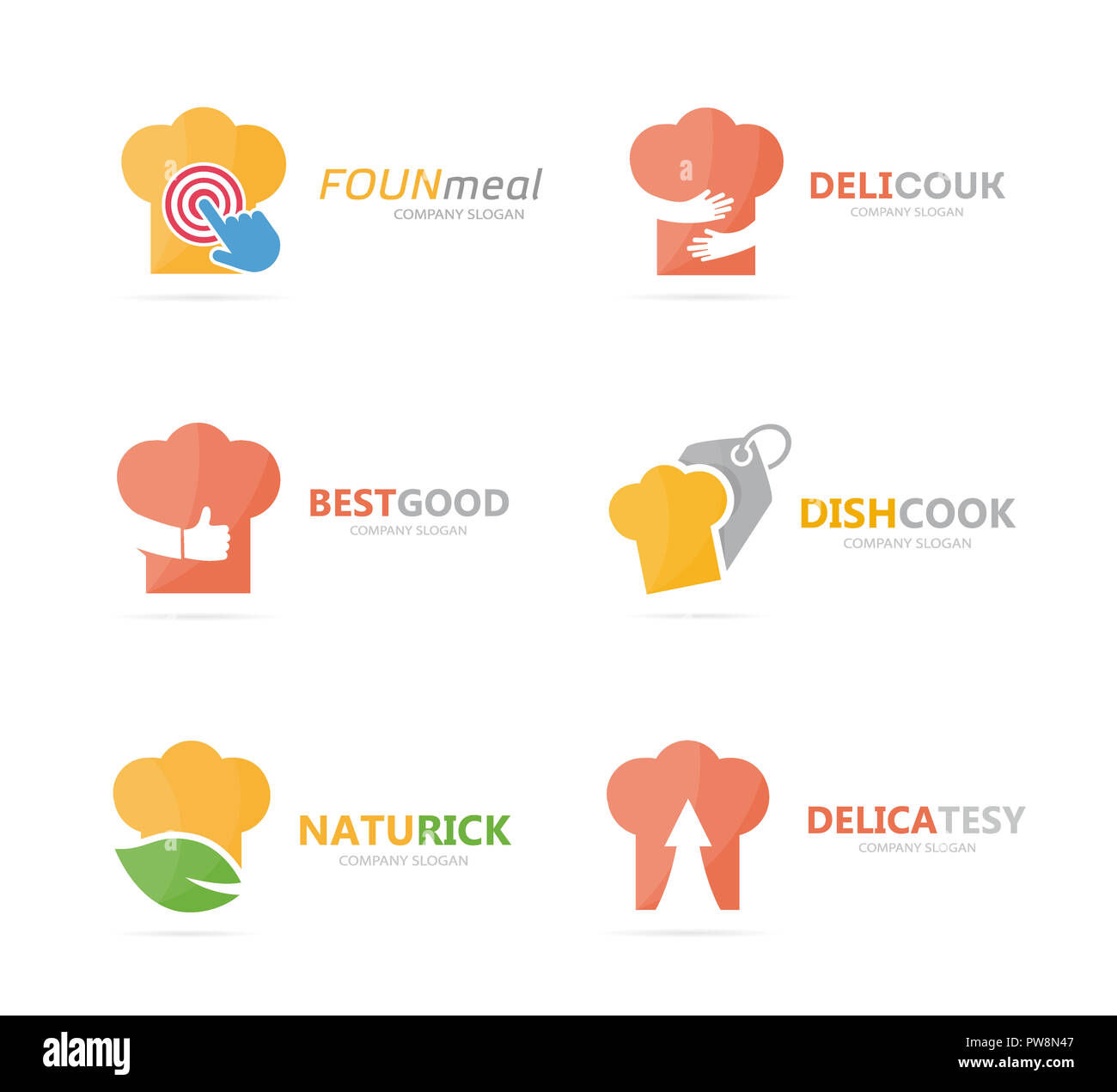 set of chef hat logo combination kitchen and cooking symbol or icon