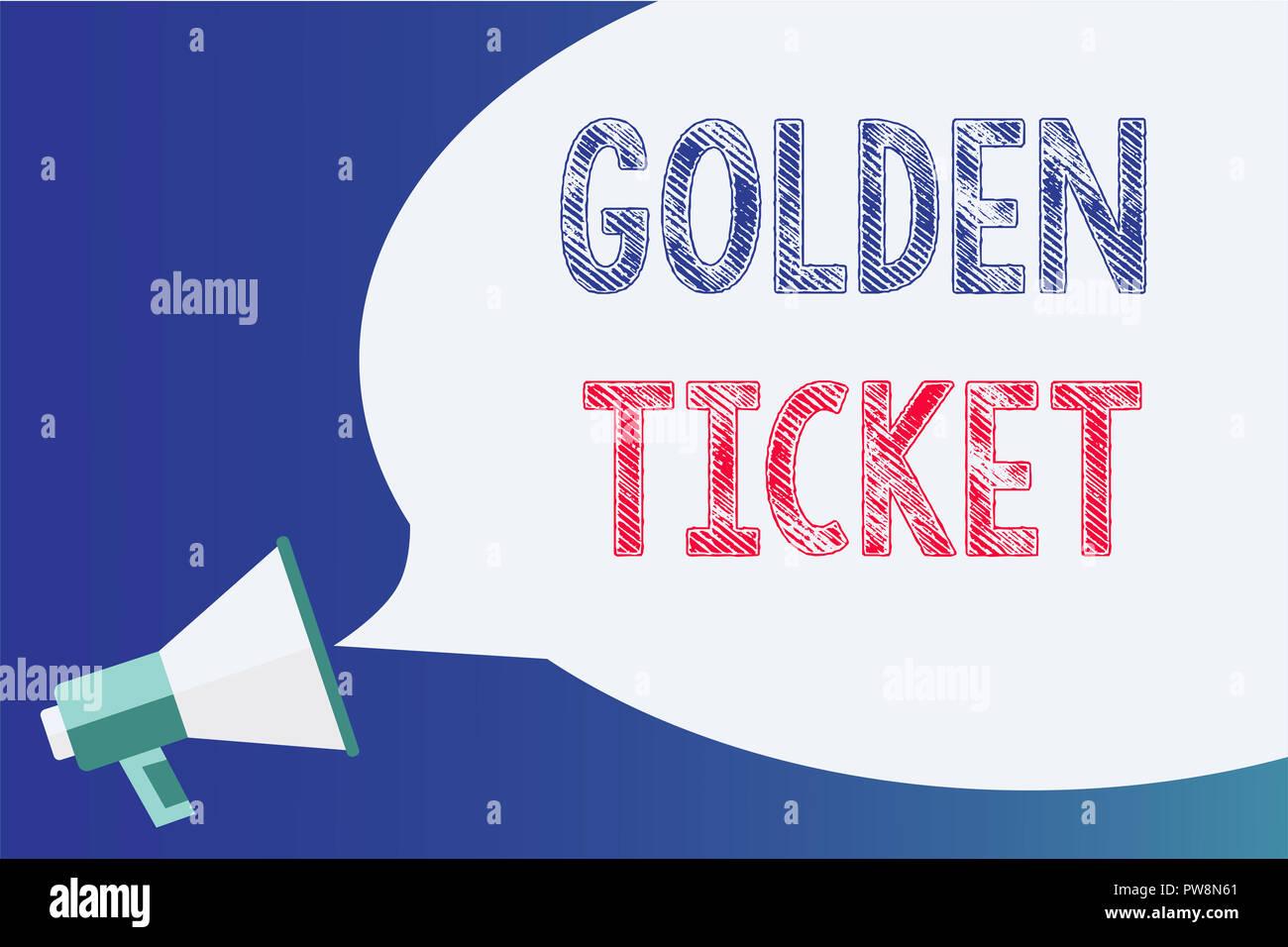 Text sign showing Golden Ticket. Conceptual photo Rain Check Access VIP Passport Box Office Seat Event Megaphone loudspeaker speech bubble important m - Stock Image