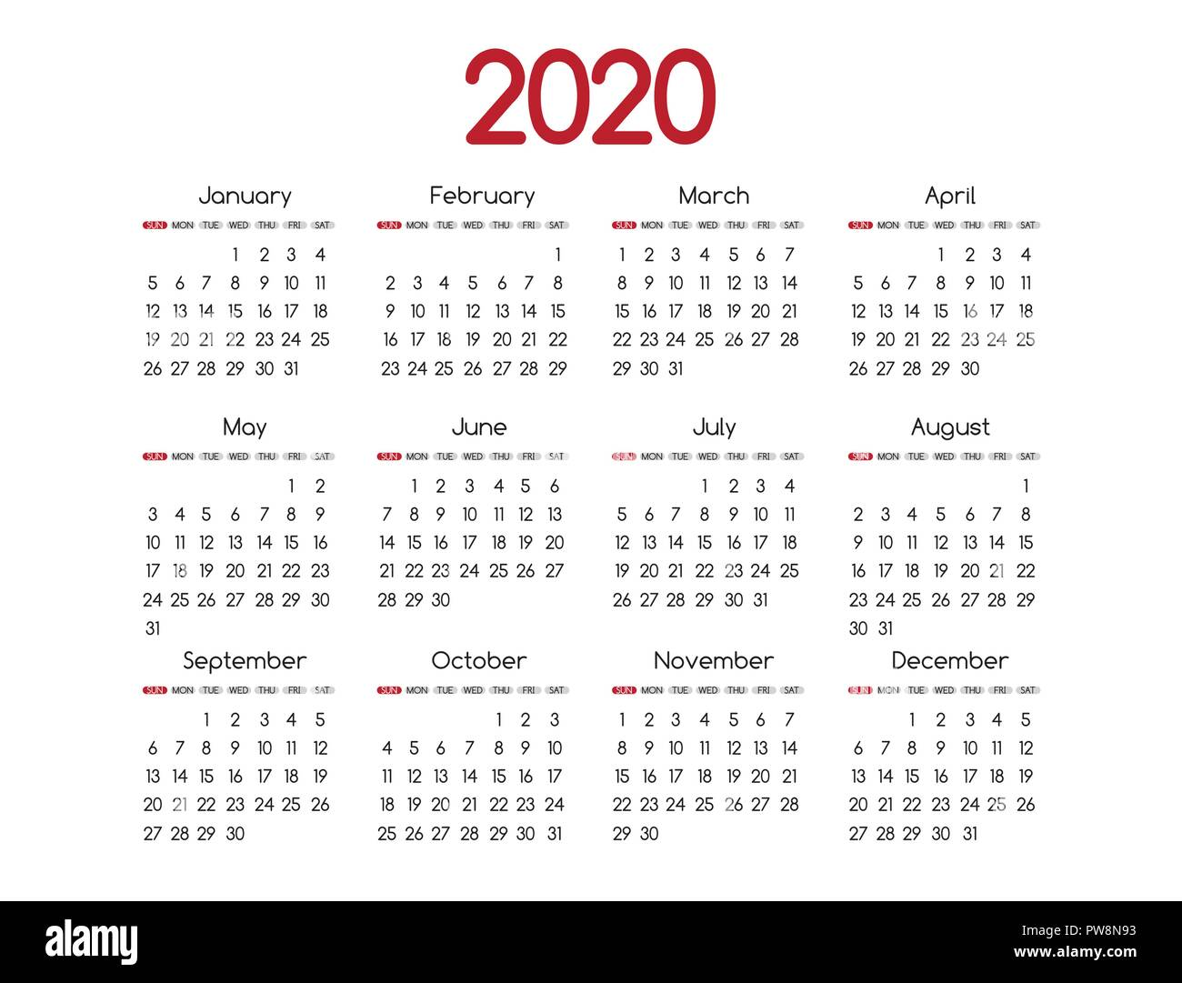 2019 new year vector red calendar modern simple design with