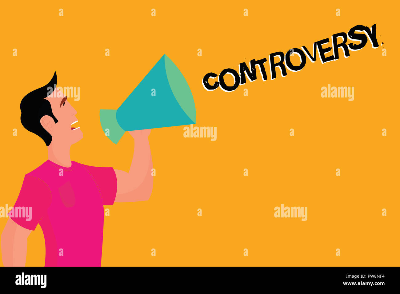 Text sign showing Controversy. Conceptual photo Disagreement or Argument about something important to showing. - Stock Image