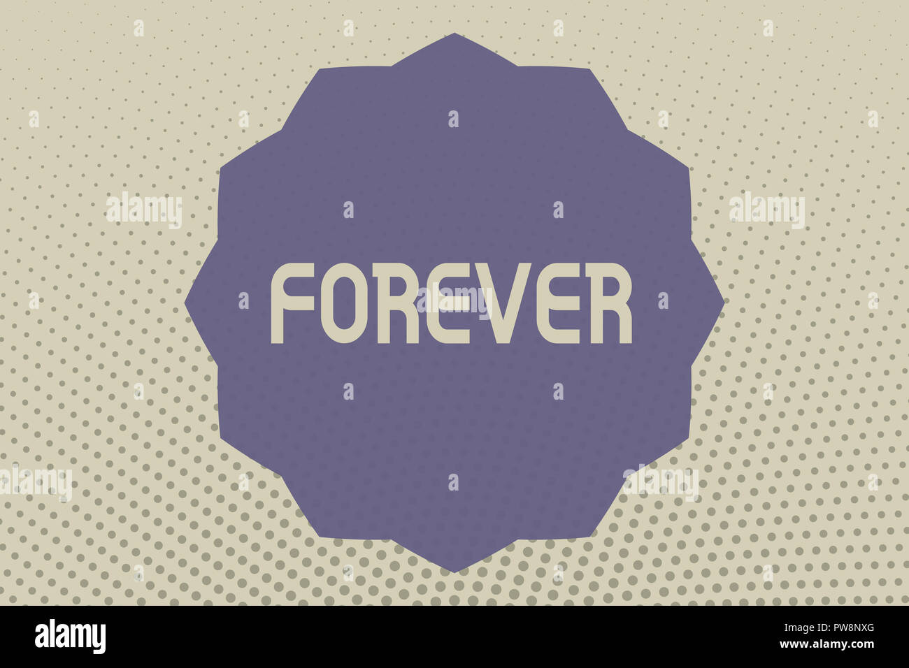 Conceptual hand writing showing Forever. Business photo text Everlasting Peranalysisent Always for future time endless Eternal. - Stock Image