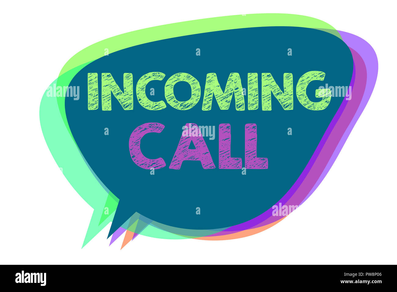 Text sign showing Incoming Call. Conceptual photo Inbound Received Caller ID Telephone Voicemail Vidcall Speech bubble idea message reminder shadows i - Stock Image