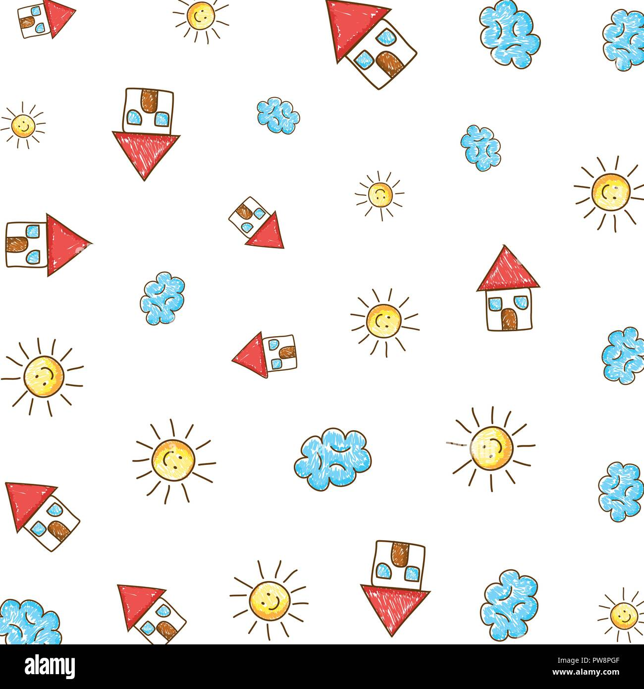 cute houses with suns and clouds drawing pattern - Stock Vector