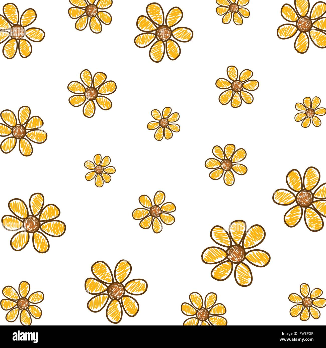 Cute Flowers Drawing Pattern Stock Vector Image Art Alamy