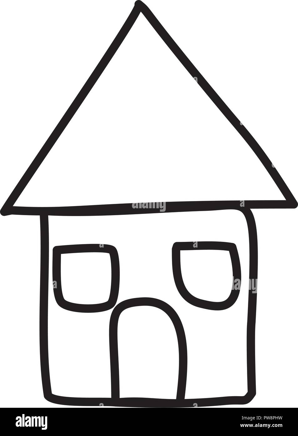 cute house drawing icon - Stock Vector