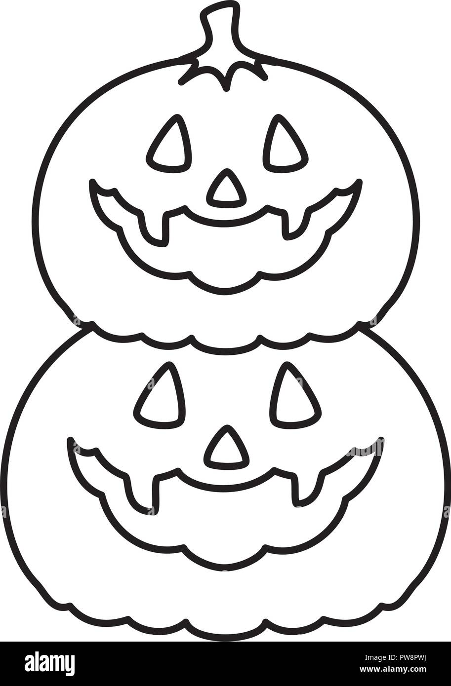 happy halloween pumpkins characters - Stock Vector