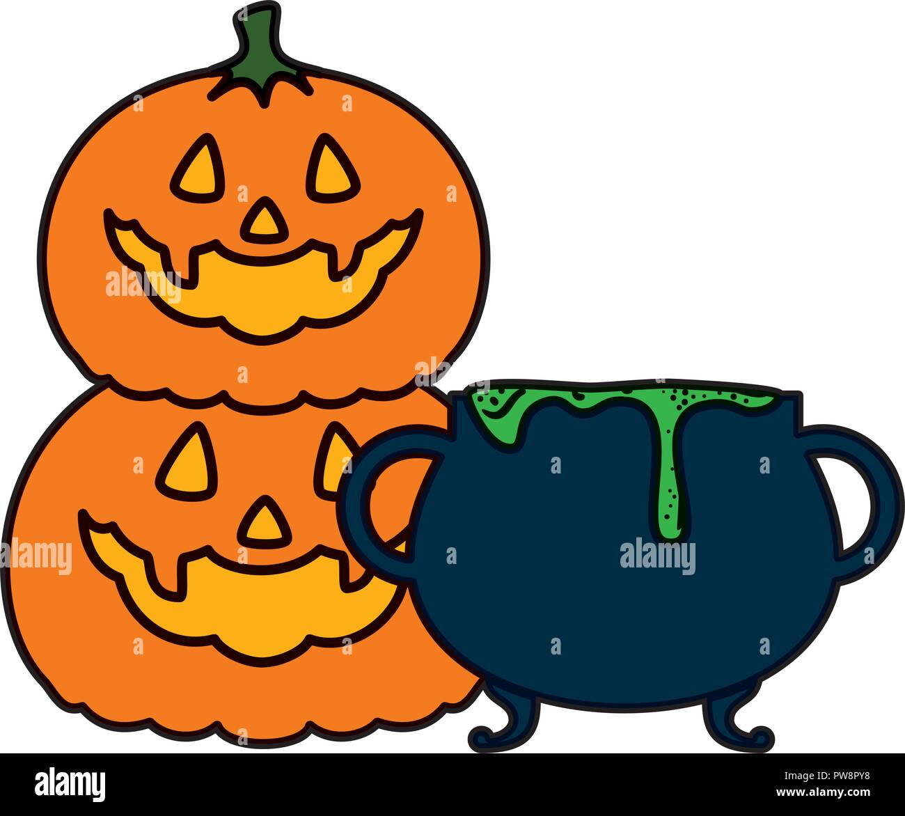 happy halloween pumpkins and cauldron - Stock Vector