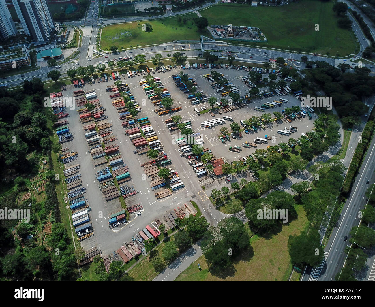 Aerial imagery of a heavy vehicle parking site in Bulim, Singapore - Stock Image
