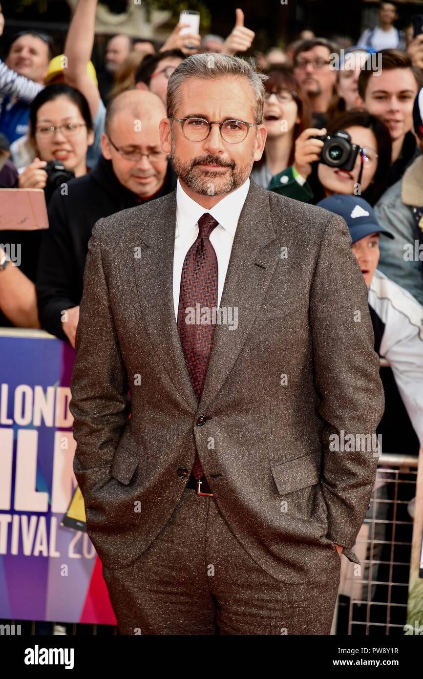 London, UK. 13th October 2018. Steve Carell,'Beautiful Boy' -European Premiere,BFI London Film Festival,Cineworld Leicester Square,London.UK Credit: michael melia/Alamy Live News - Stock Image