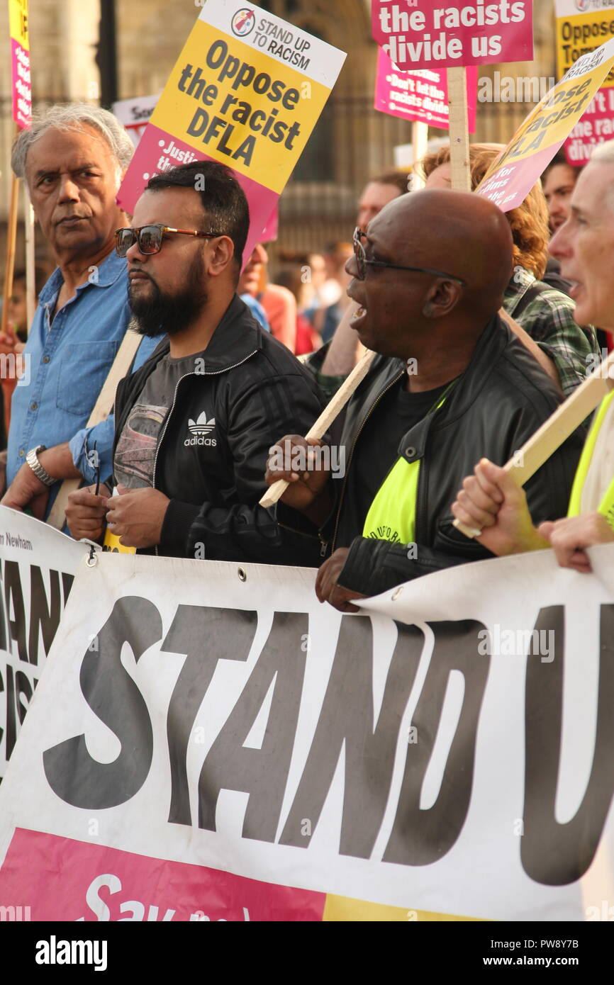 London, UK. 13th October, 2018. A counter protest organised by campaign group Stand Up To Racism included a march and rally in Whitehall. The purpose of the protest was to prevent the far right group DFLA (Democratic Football Lads Alliance) from marching through Whitehall and past Parliament. Roland Ravenhill/Alamy Live News - Stock Image