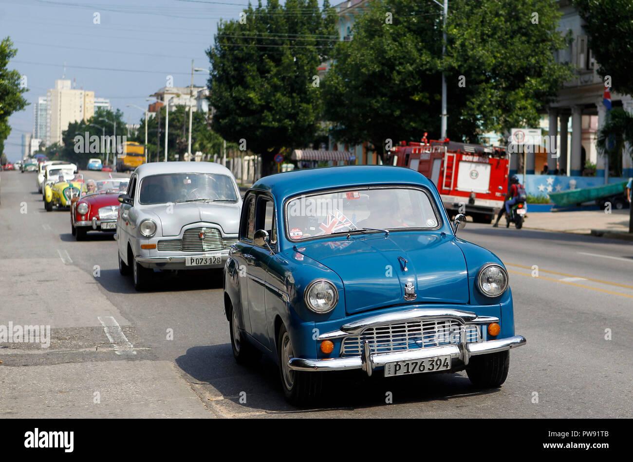 La Habana Cuba 13th Oct 2018 A View Of Several Brisith Classic