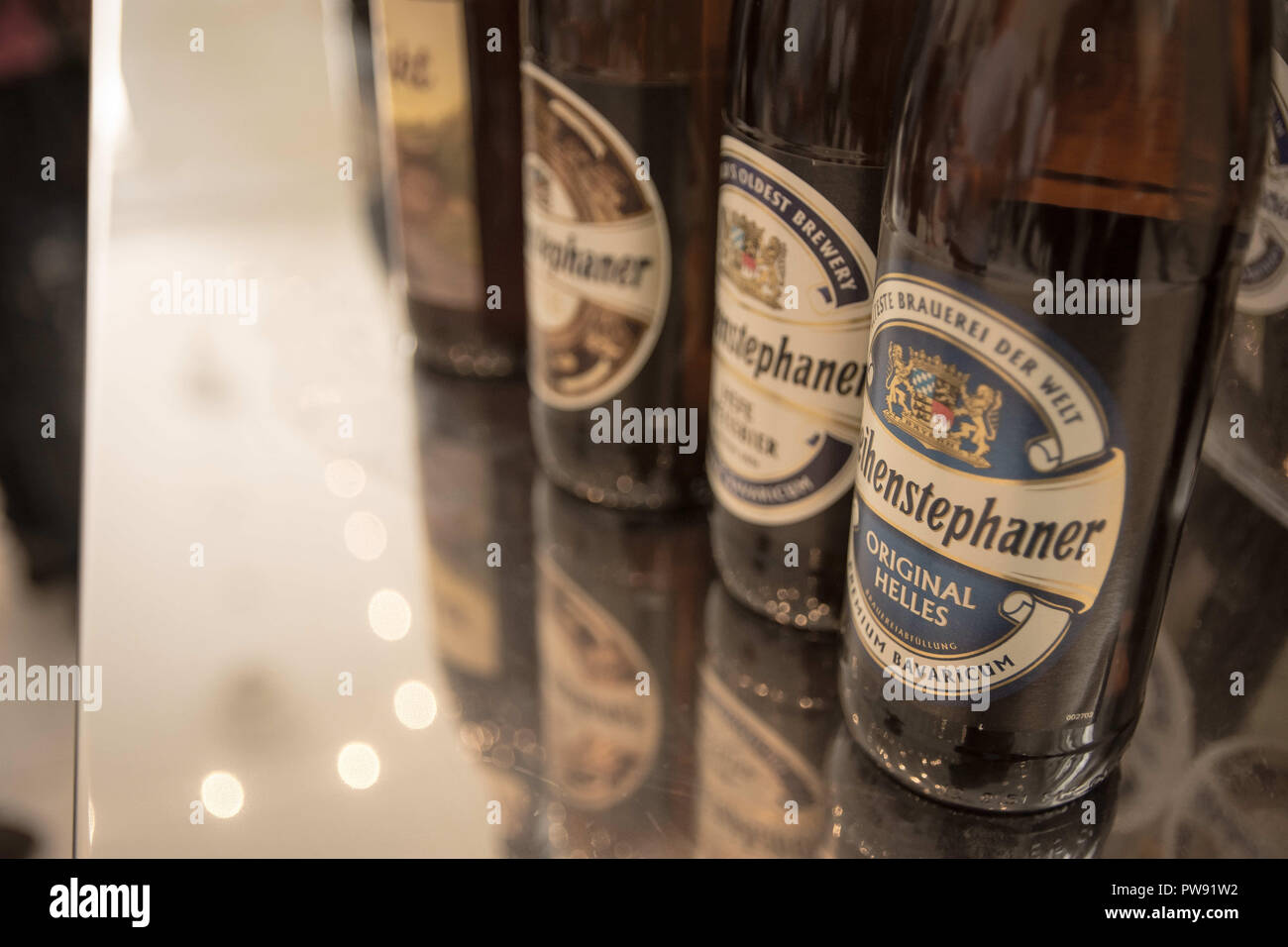 Athens, Greece. 13th Oct, 2018. Bottles of beer seen ready to be tasted during the exhibition.The 5th Zythognosia Exhibition, people get a chance during the exhibition to taste multiple brews and premium beers from different brands and companies like Levante for Zante Lager, Asylum for Asylum saison, Mikonu for Mikonu Pale Ale, Deals for Fischer, Samichlaus and Cava di patsi for Flaros Session Ale in Zappeion Megaron in Athens. Credit: Nikolas Joao Kokovlis/SOPA Images/ZUMA Wire/Alamy Live News - Stock Image