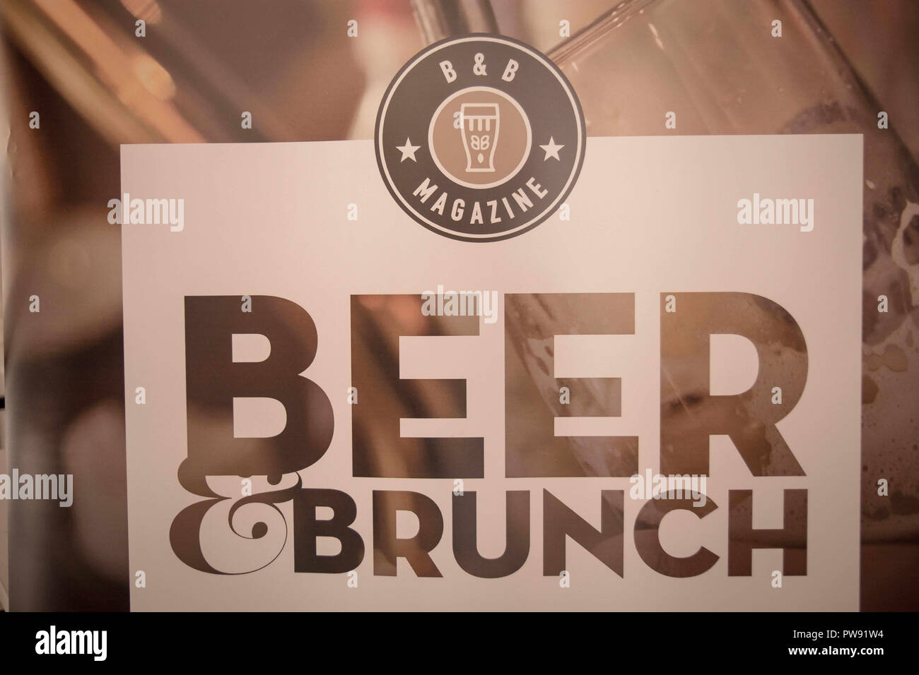 Athens, Greece. 13th Oct, 2018. An exhibition logo saying beer brunch seen during the exhibition.The 5th Zythognosia Exhibition, people get a chance during the exhibition to taste multiple brews and premium beers from different brands and companies like Levante for Zante Lager, Asylum for Asylum saison, Mikonu for Mikonu Pale Ale, Deals for Fischer, Samichlaus and Cava di patsi for Flaros Session Ale in Zappeion Megaron in Athens. Credit: Nikolas Joao Kokovlis/SOPA Images/ZUMA Wire/Alamy Live News - Stock Image