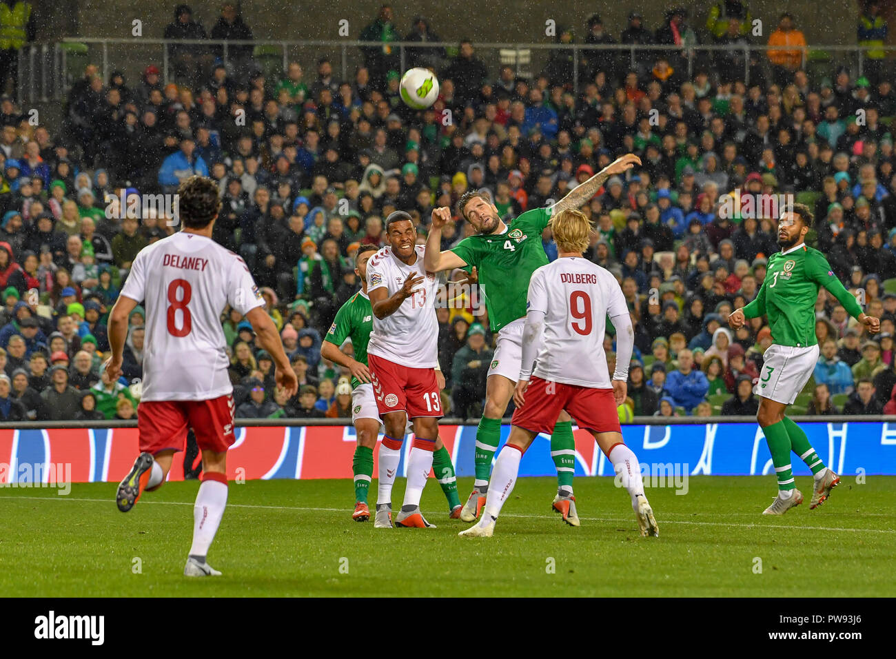 Mathias Jorgensen and Shane Duffy in action during the Rep of Ireland vs Denmark UEFA Nations League match at the Aviva Stadium. Score 0-0 - Stock Image