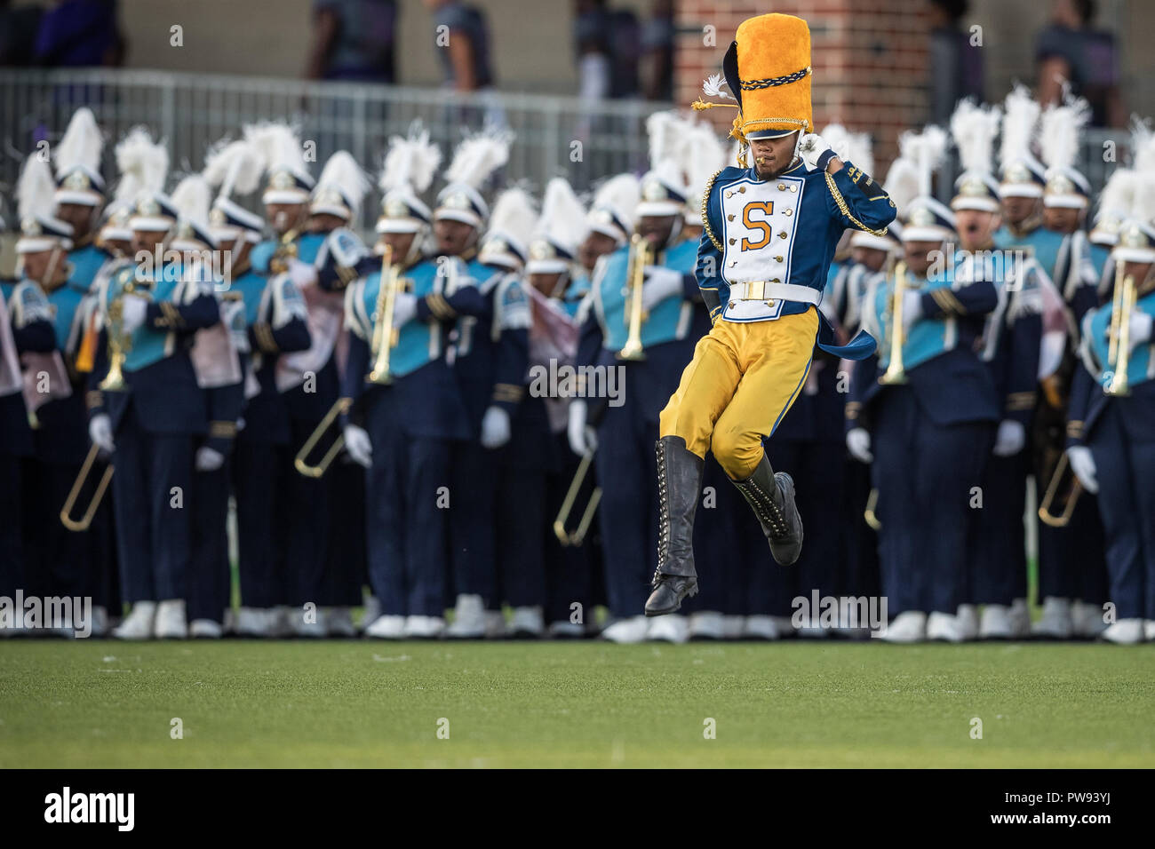 A Southern University Jaguars Drum Major Takes The Field During The  Halftime Show In The NCAA Football Game Between The Southern University  Jaguars And The ...