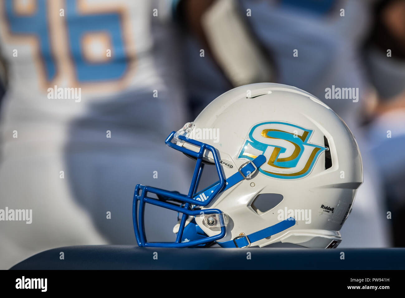 A Southern University Jaguars Helmet Rests On The Sideline During The NCAA  Football Game Between The Southern University Jaguars And The Prairie View  Au0026M ...