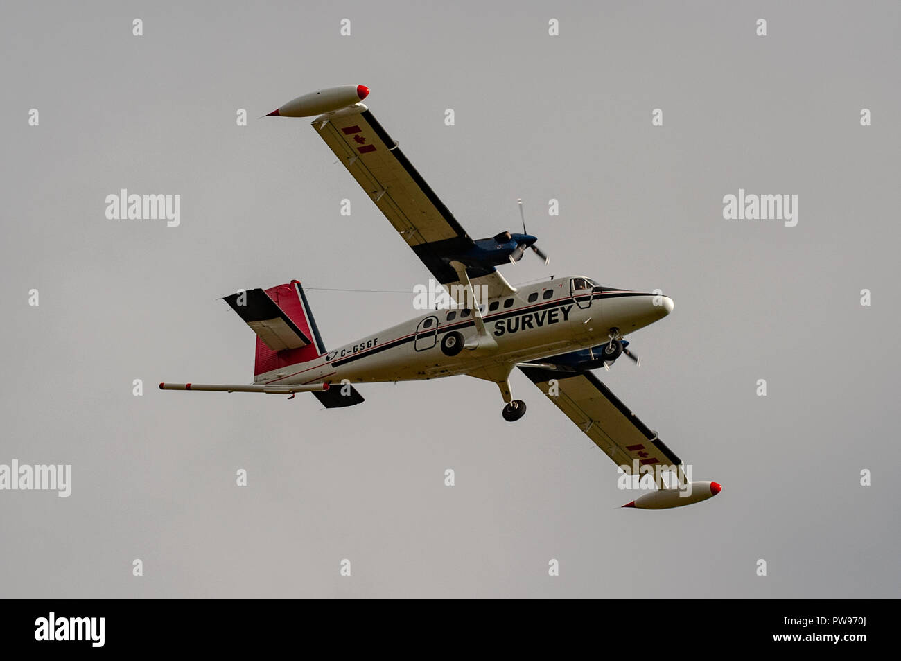 Ballydehob, West Cork, Ireland. 14th Oct, 2018. De Havilland DHC-6-300 Twin Otter survery aircraft registration C-GSGF makes a pass over Scrahanaleara for the fourth time this morning whilst performing a geoscience mapping programme.  The aircraft is owned by Sander Geophysics, which is based in Canada. Credit: Andy Gibson/Alamy Live News. - Stock Image