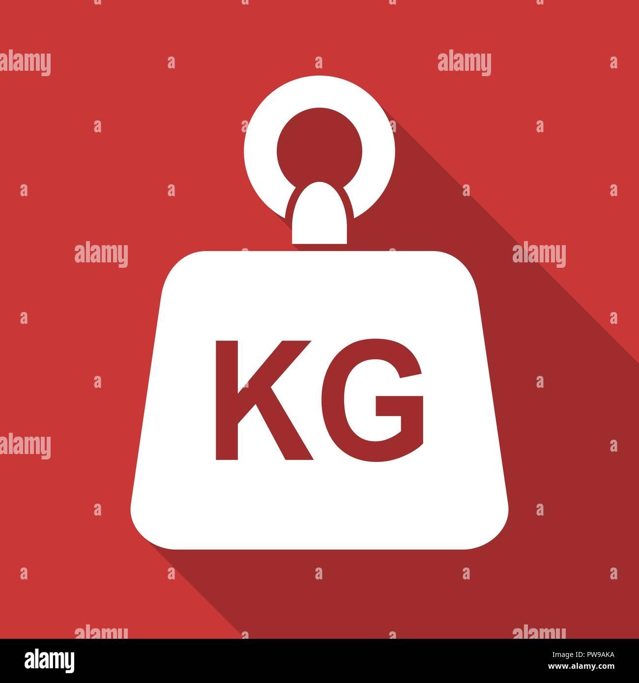 Flat design weight kg kilogram vector icon - Stock Image