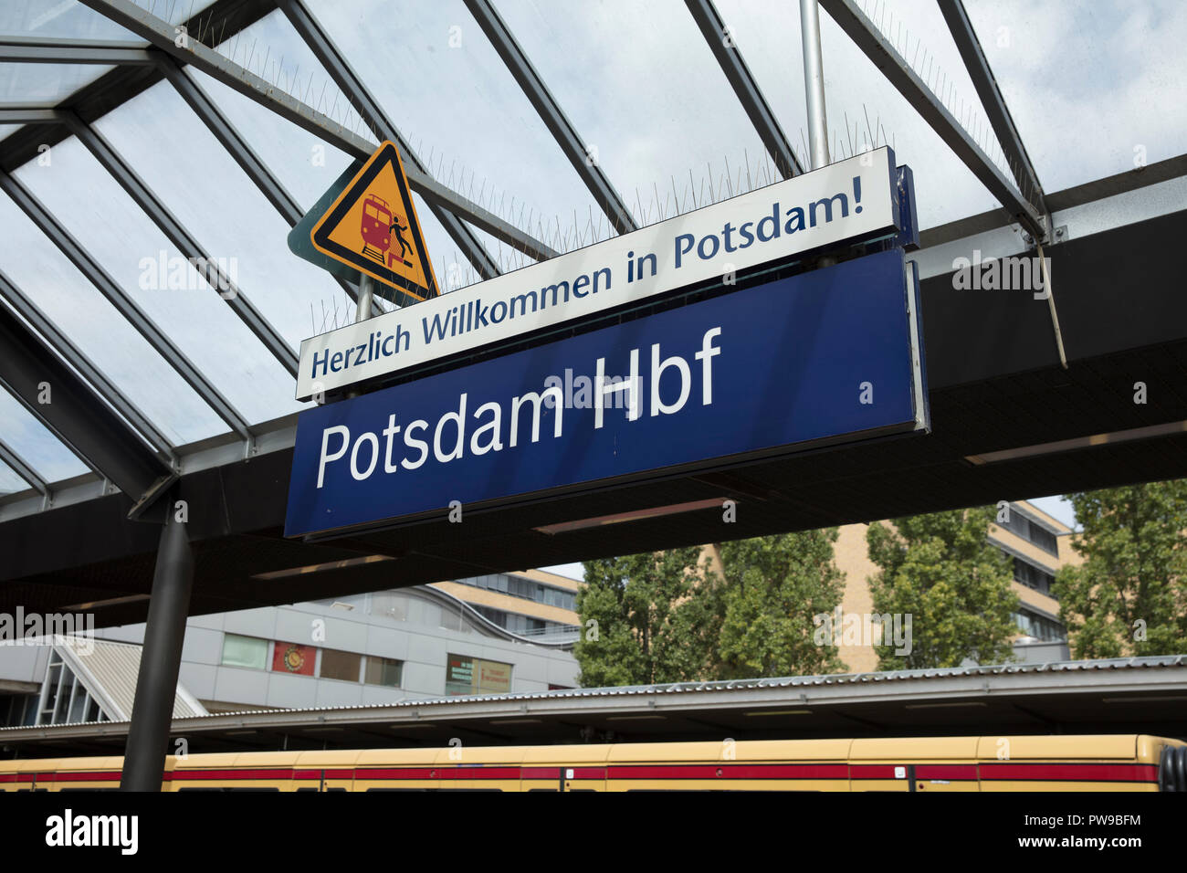 Potsdam, Berlin, Germany: 18th August 2018: Railway Station Sign Stock Photo
