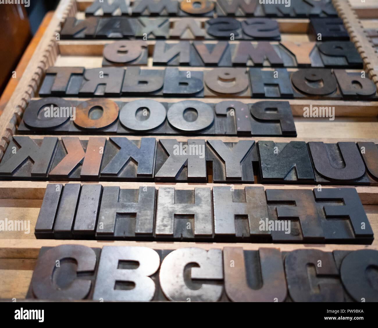 Printing letter blocks for typesetting - Stock Image