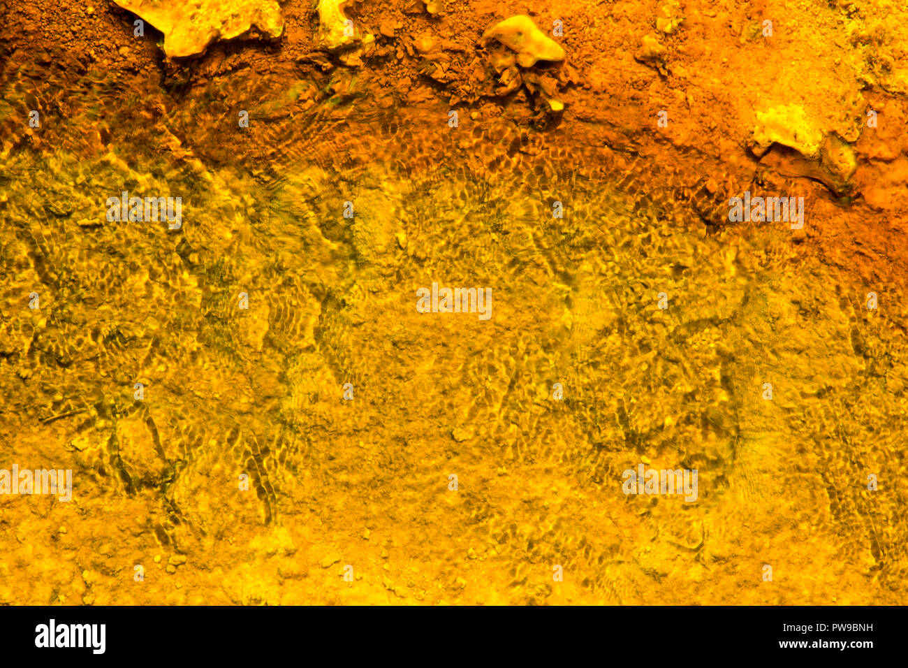 West Thumb Geyser Basin Copper and Yellow, Yellostone National Park, Wyoming - Stock Image