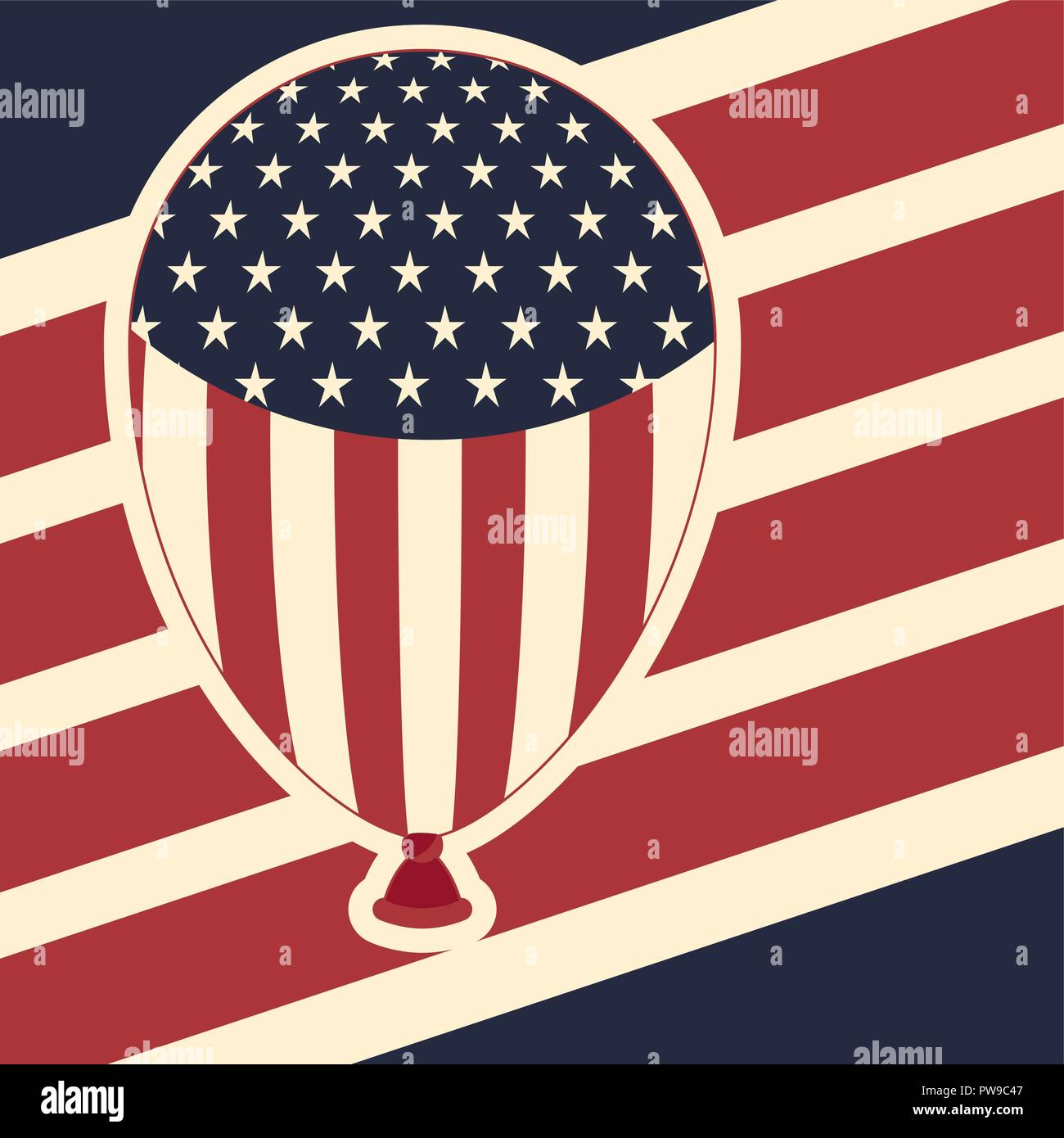 be608cb4fe5f american flag pattern background with balloons icon - Stock Vector