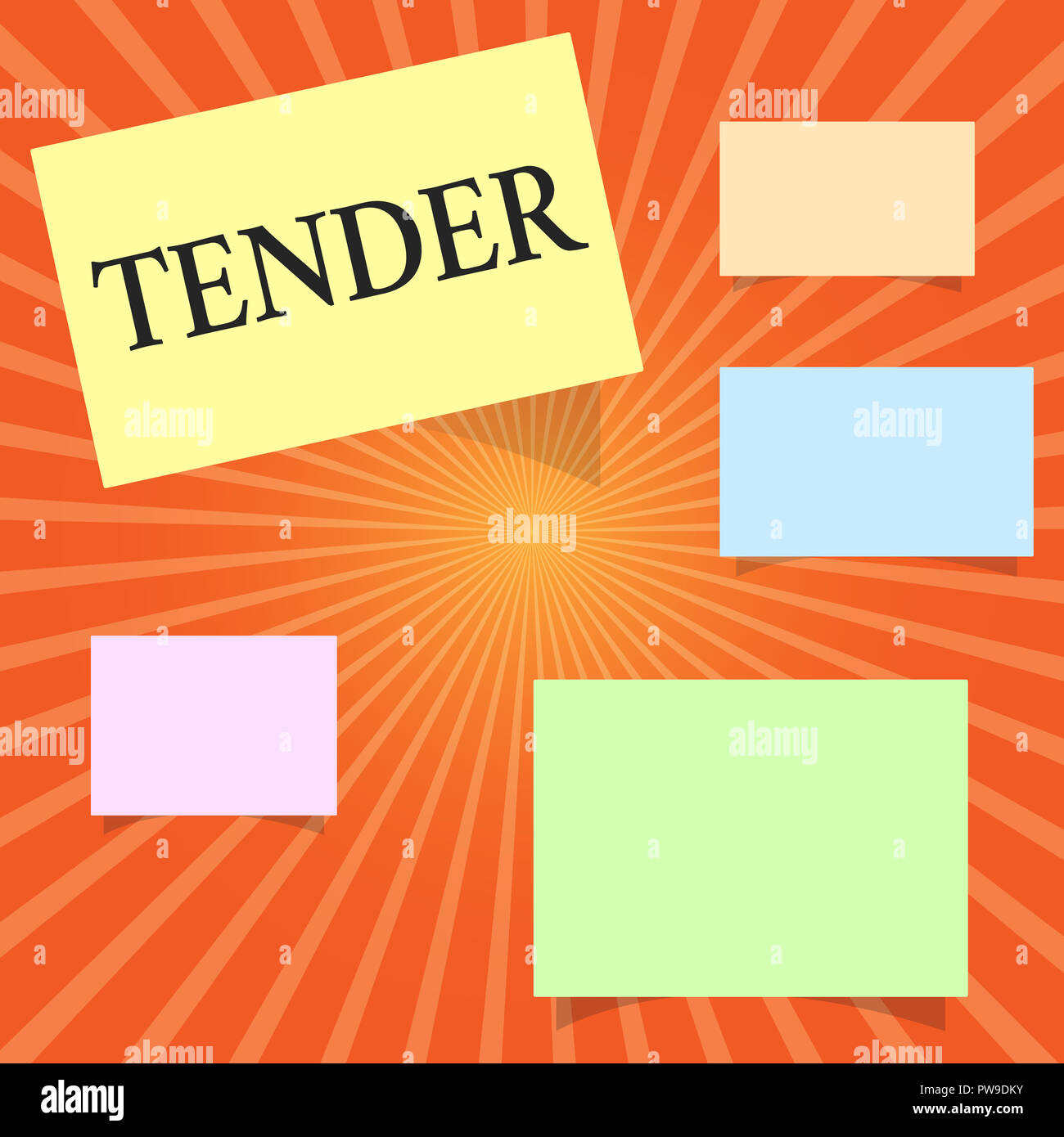 Text sign showing Tender. Conceptual photo showing gentleness kindness and affection sensitive to pain. - Stock Image