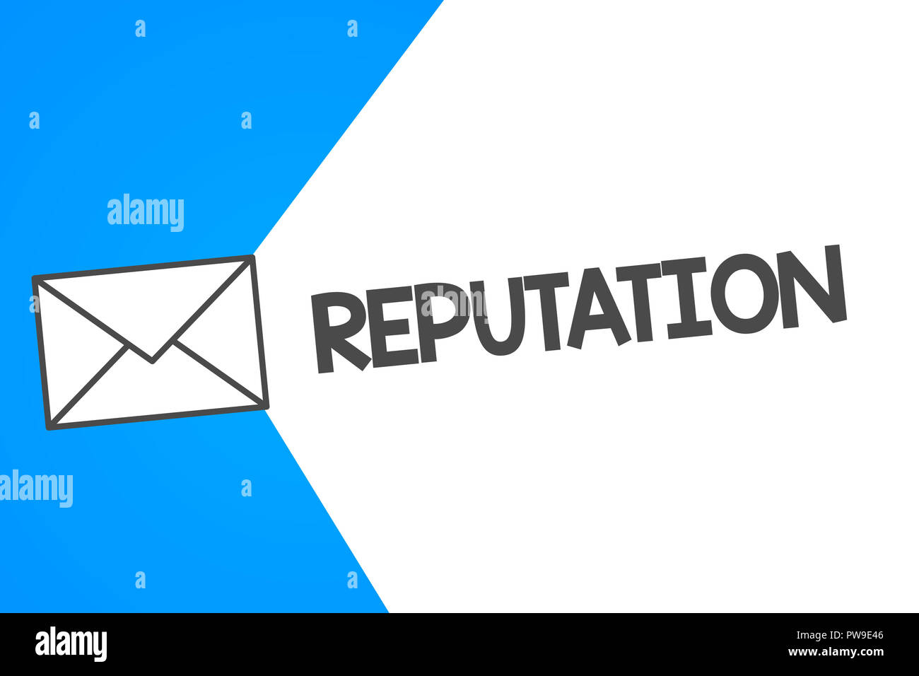 Handwriting text Reputation. Concept meaning Beliefs Opinions that are generally held about someone something. - Stock Image
