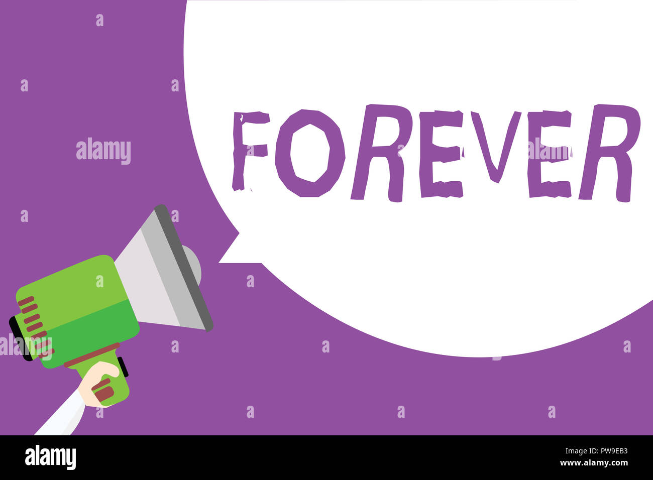 Word writing text Forever. Business concept for Everlasting Peranalysisent Always for future time endless Eternal Man holding megaphone loudspeaker sp - Stock Image