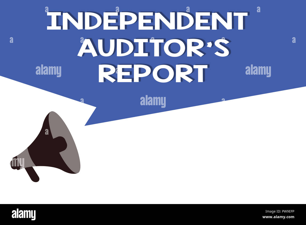 Handwriting text Independent Auditor s is Report. Concept meaning analyze Accounting and Financial Practices. - Stock Image