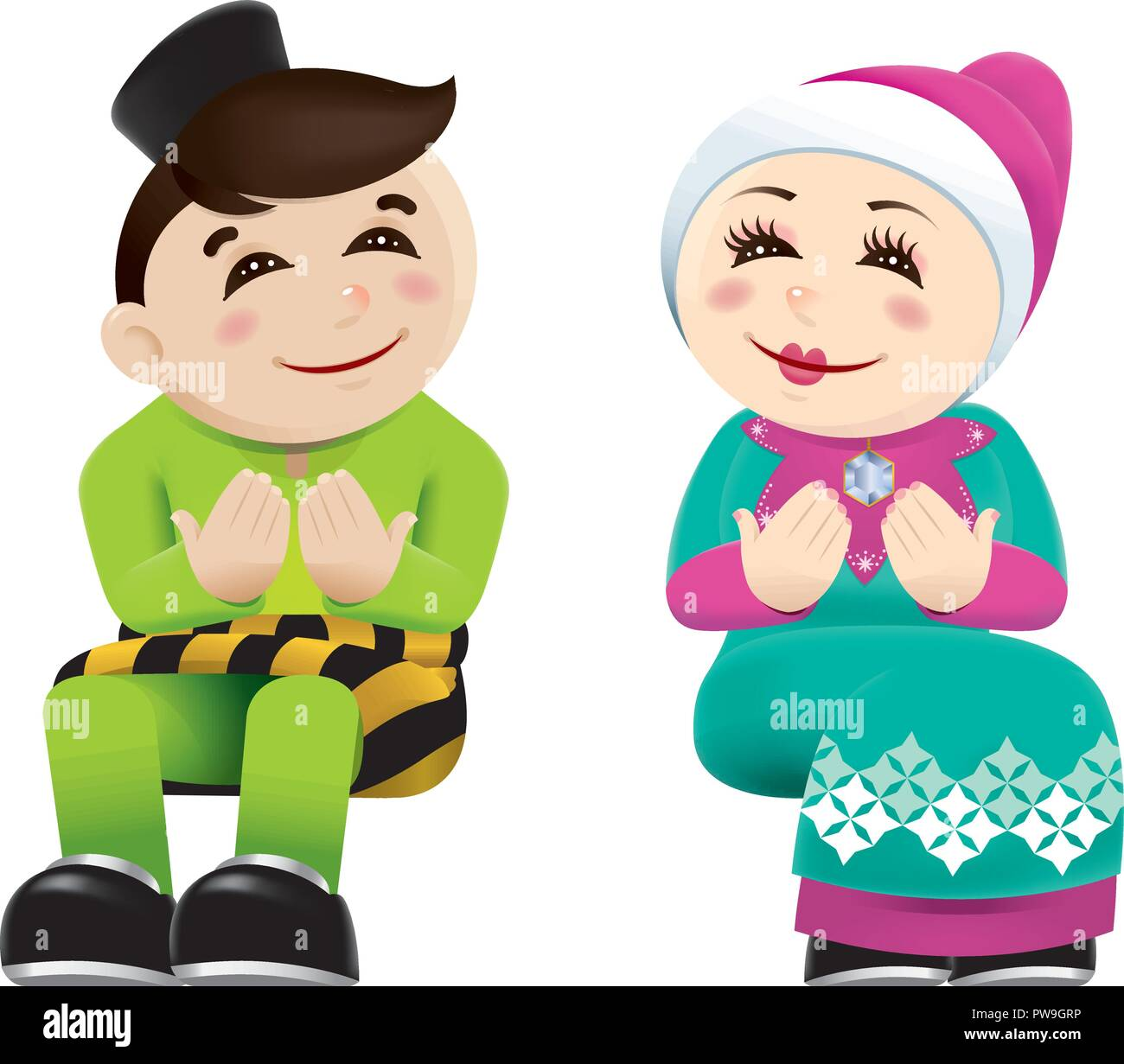 Muslim boy and girl with praying post isolated with color background stock