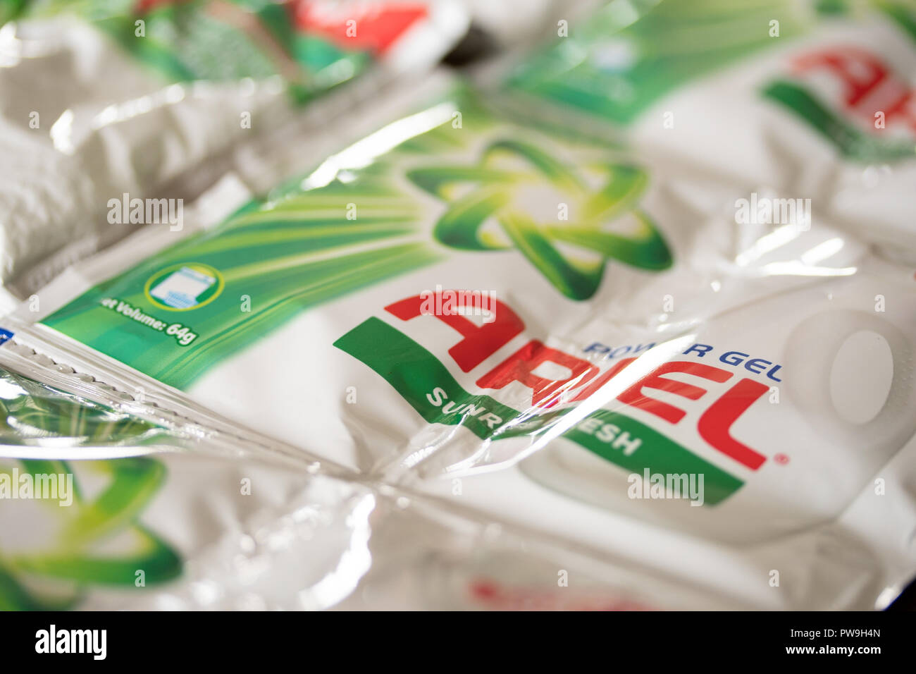 Concept Image of global warming & climate change.Small plastic sachets of detergent which are commonly used in  the Philippines,often discarded into t - Stock Image