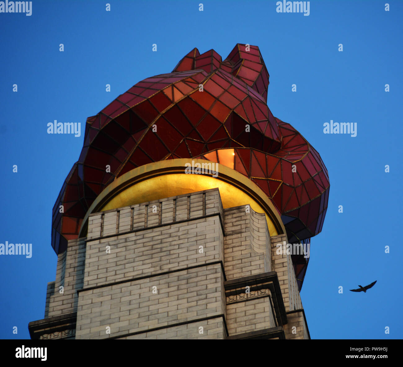 Glorious flame atop the Juche Tower, Pyongyang - Stock Image