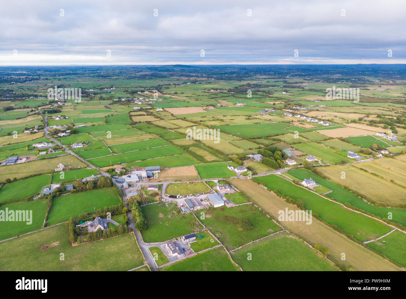 An aerial view of the Cloughanover countyside near Headford in County Galway, Ireland. Stock Photo