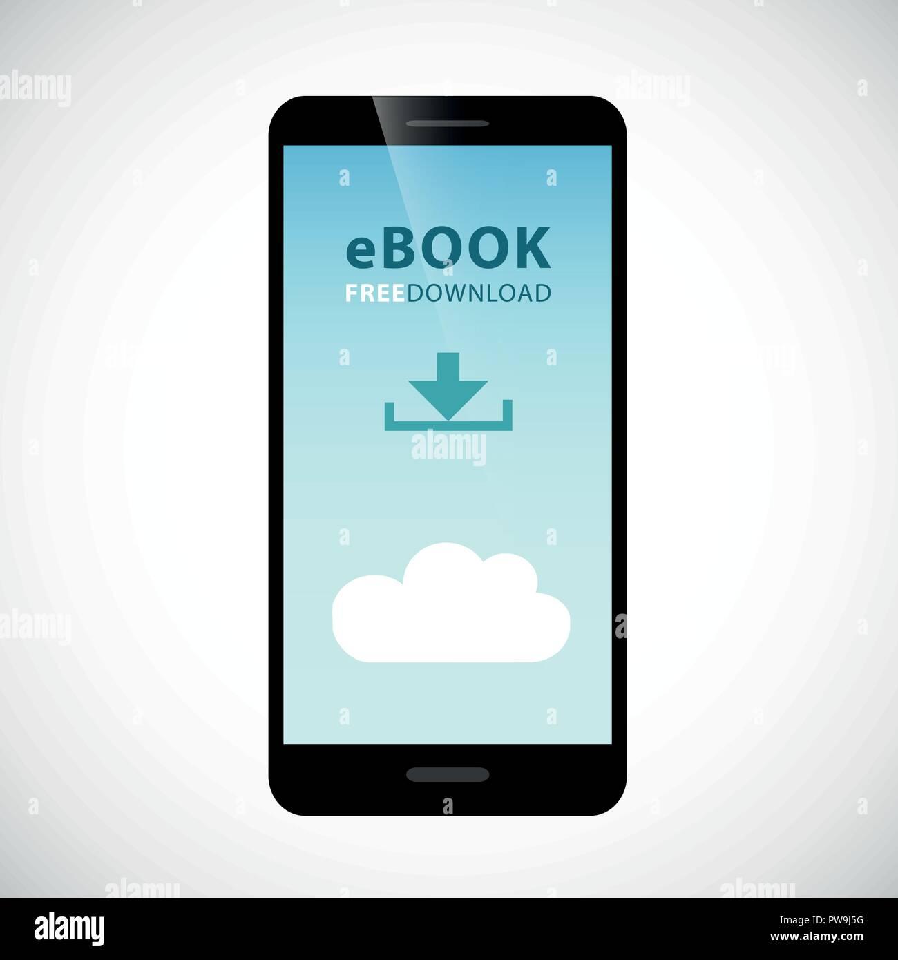 e-book free download cloud via smartphone vector illustration EPS10 - Stock Image