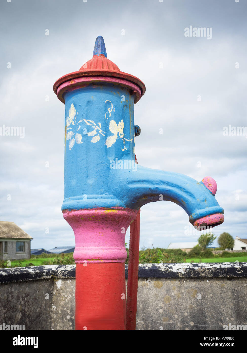 A traditional water pump in Cloughanover, near Headford in County Galway, Ireland. Stock Photo