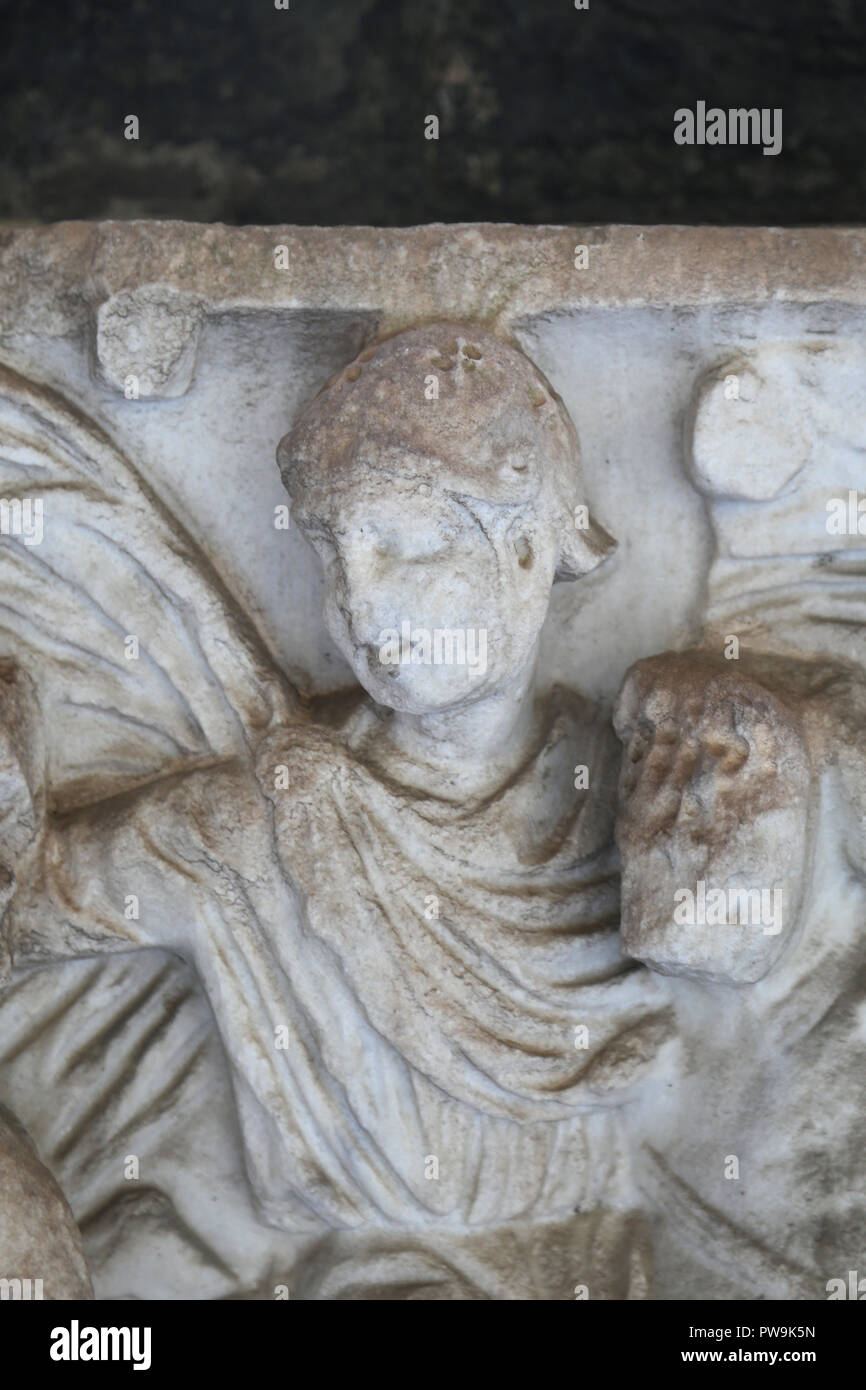 Italy. Pisa. Camposanto. Roman sarcophagus. Fragment. Scene of hunting. Soldier. Detail. Imperial era. - Stock Image