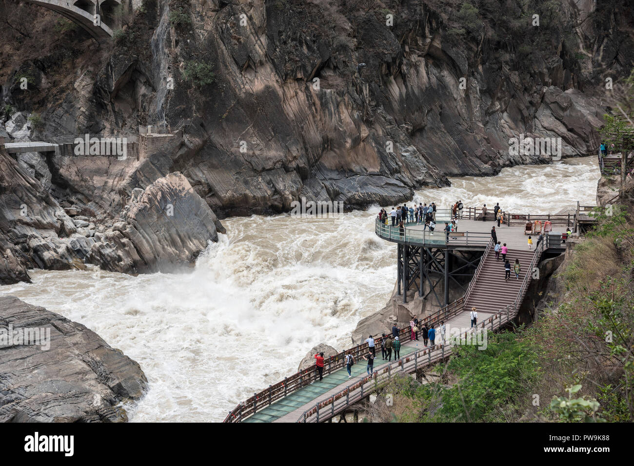 Tiger leaping gorge said to be the one of the deepest and most dramatic gorges in the World stretching for 16km long. Kunming province China - Stock Image