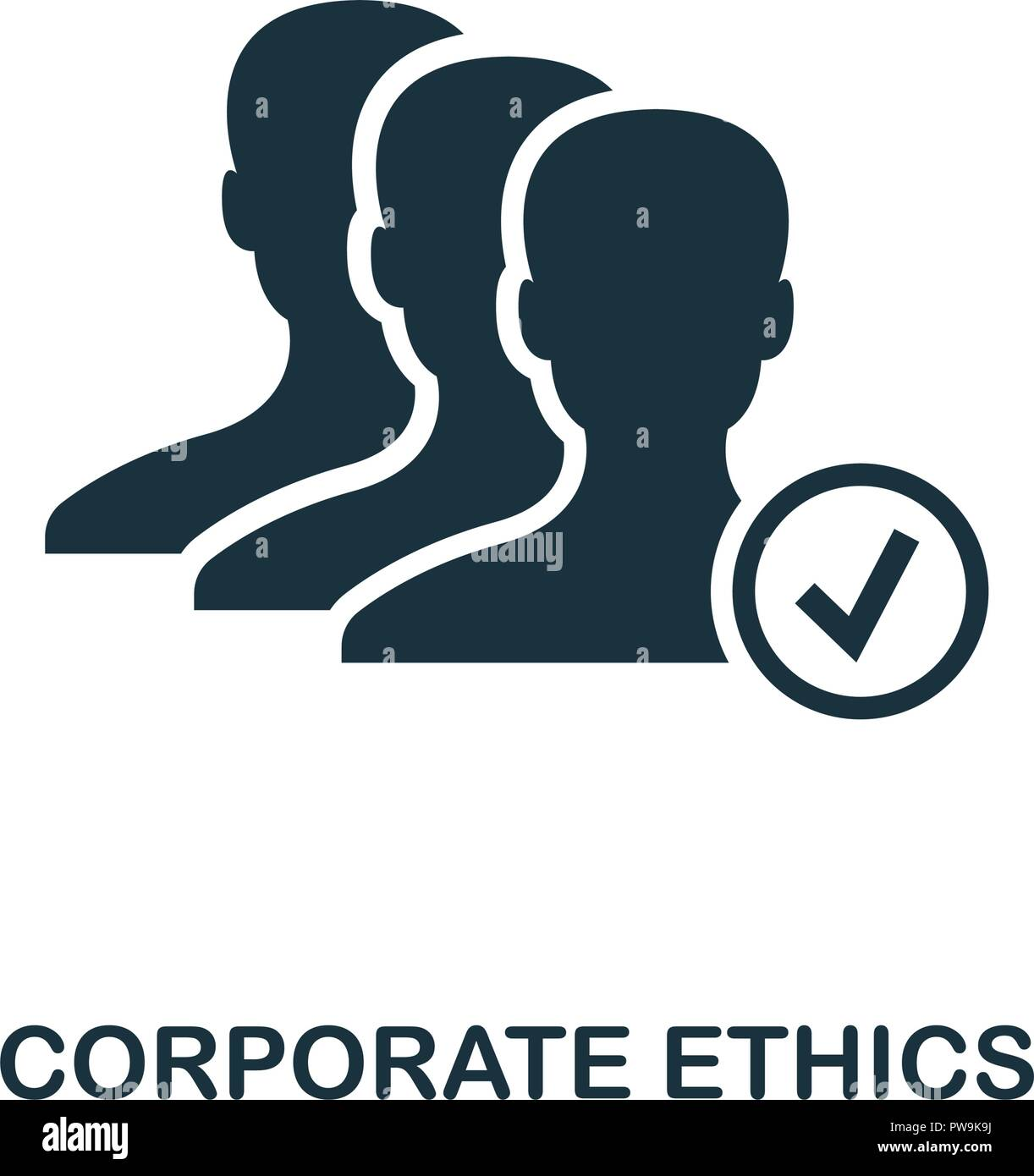 Corporate Ethics icon. Monochrome style design from business ethics icon collection. UI and UX. Pixel perfect corporate ethics icon. For web design, apps, software, print usage. - Stock Image