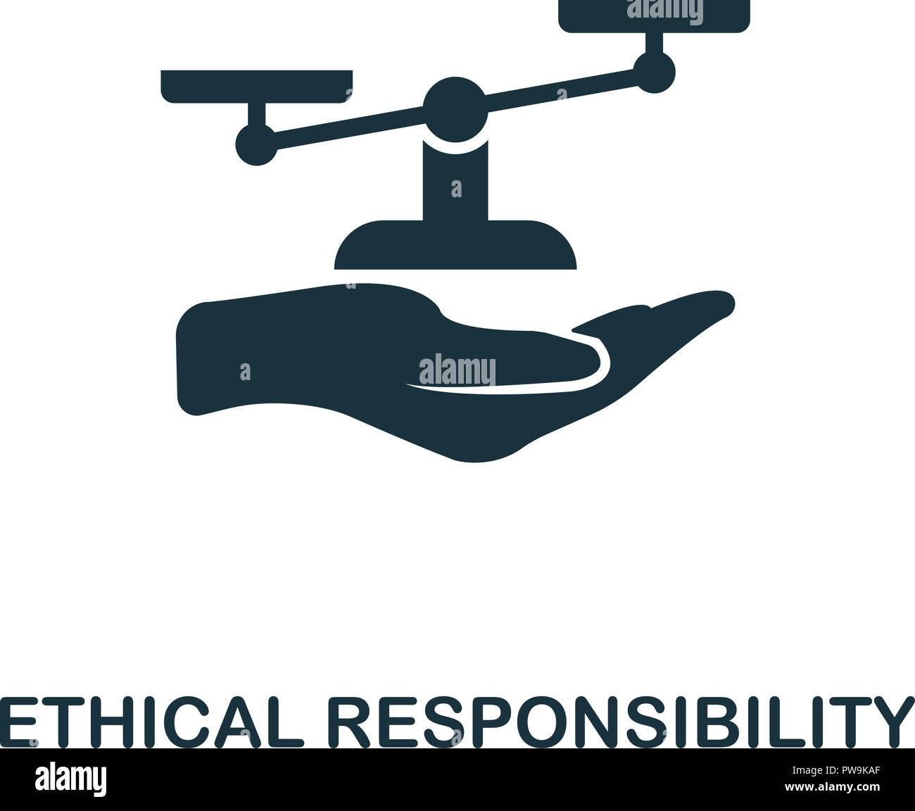 Ethical Responsibility icon. Monochrome style design from business ethics icon collection. UI and UX. Pixel perfect ethical responsibility icon. For web design, apps, software, print usage. - Stock Image