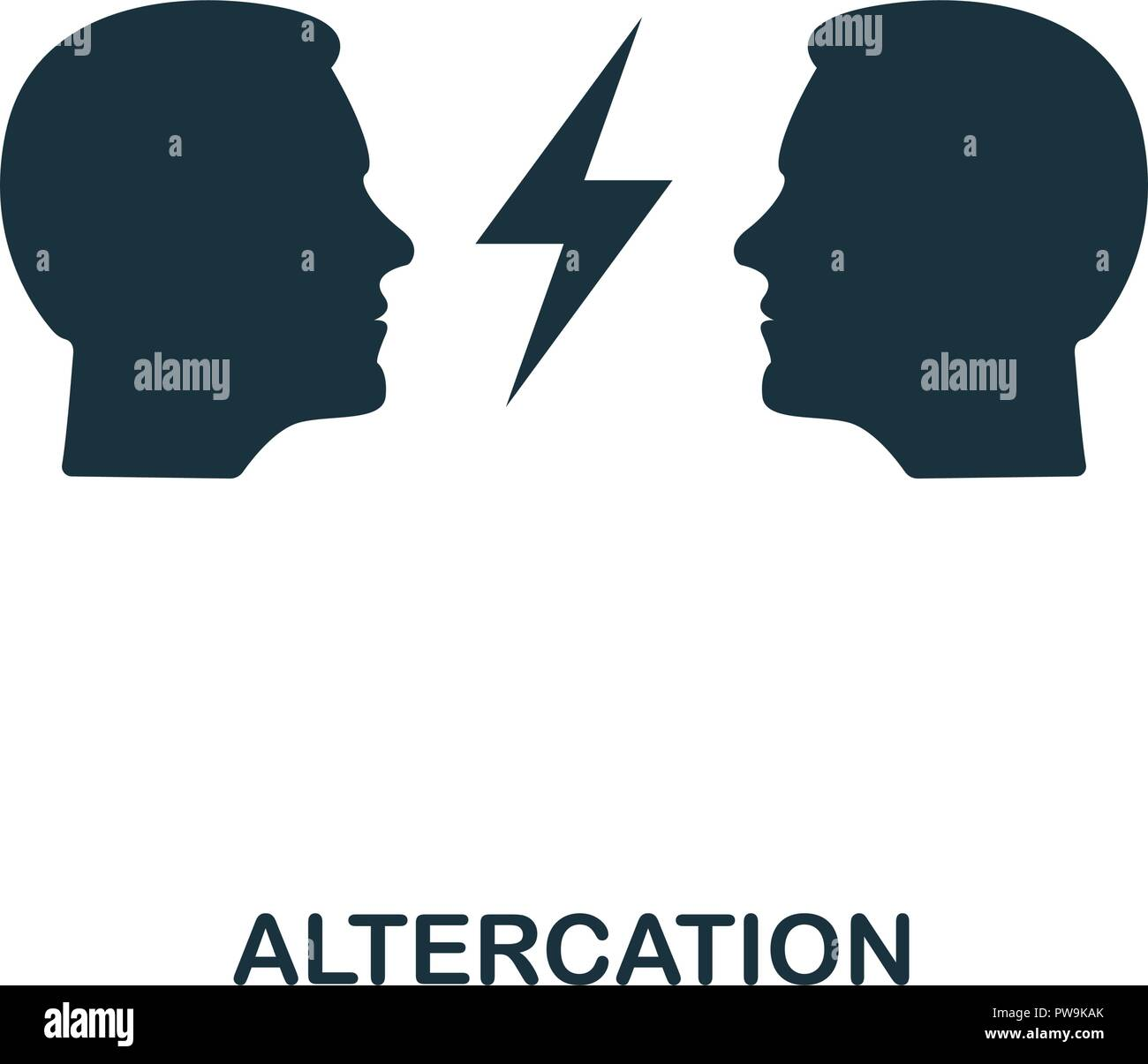 Altercation icon. Monochrome style design from business ethics icon collection. UI and UX. Pixel perfect altercation icon. For web design, apps, software, print usage. - Stock Vector