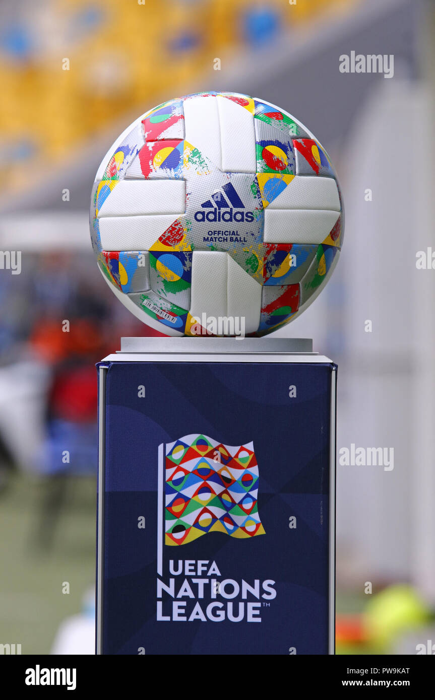 Adidas Nations League Official Match Ball Of Uefa Nations League 2018 2019 On The Pedestal Stock Photo Alamy