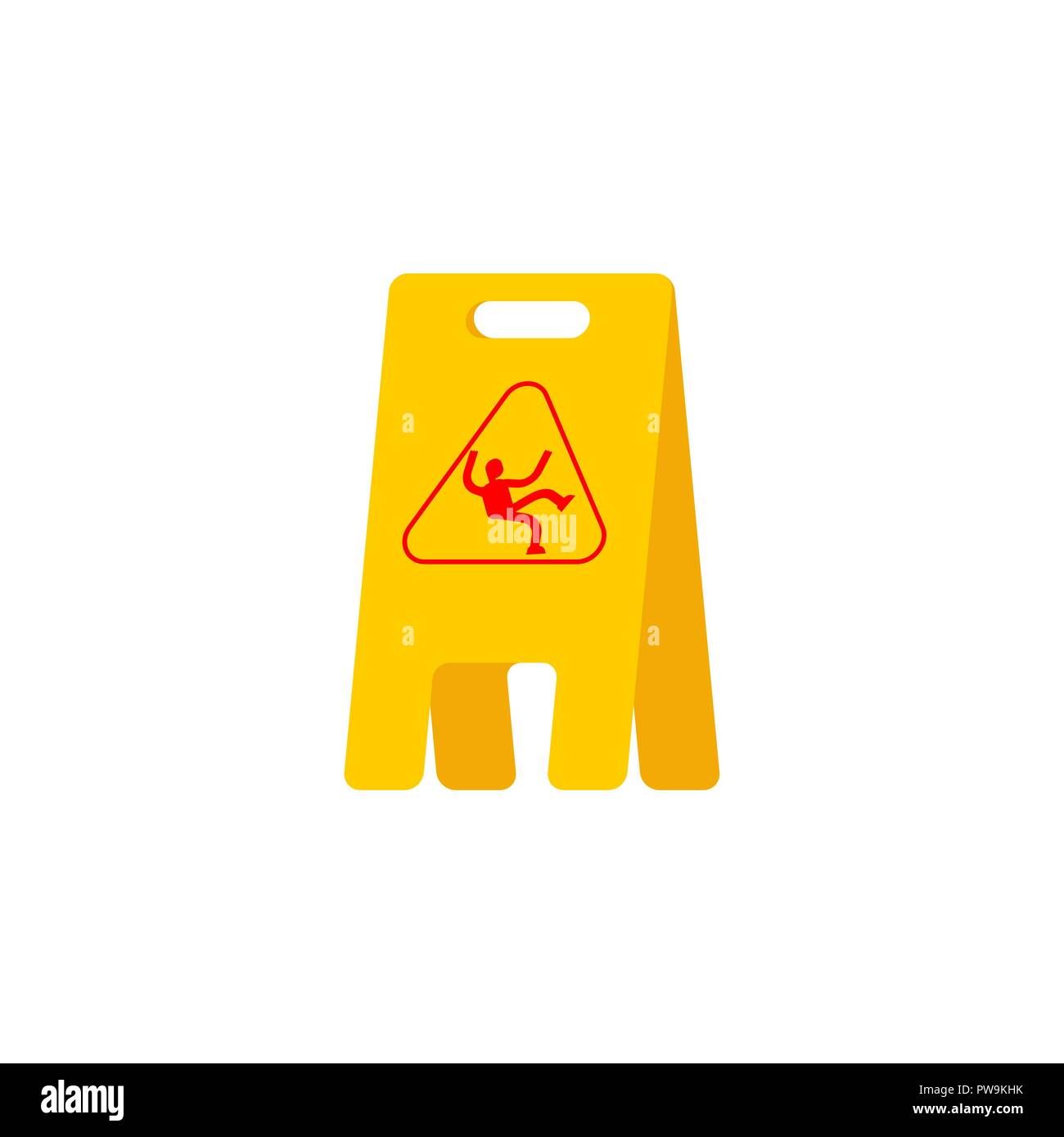 Wet floor yellow sign. caution slippery accident - Stock Image