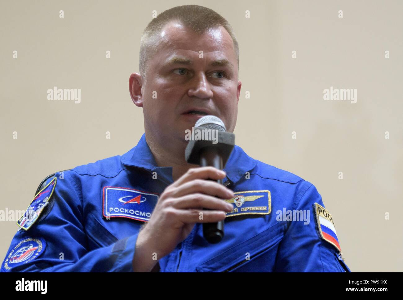 International Space Station Expedition 57 Flight Engineer Alexey Ovchinin of Roscosmos, during a press conference from isolation at the Cosmonauts Hotel October 10, 2018 in Baikonur, Kazakhstan. - Stock Image
