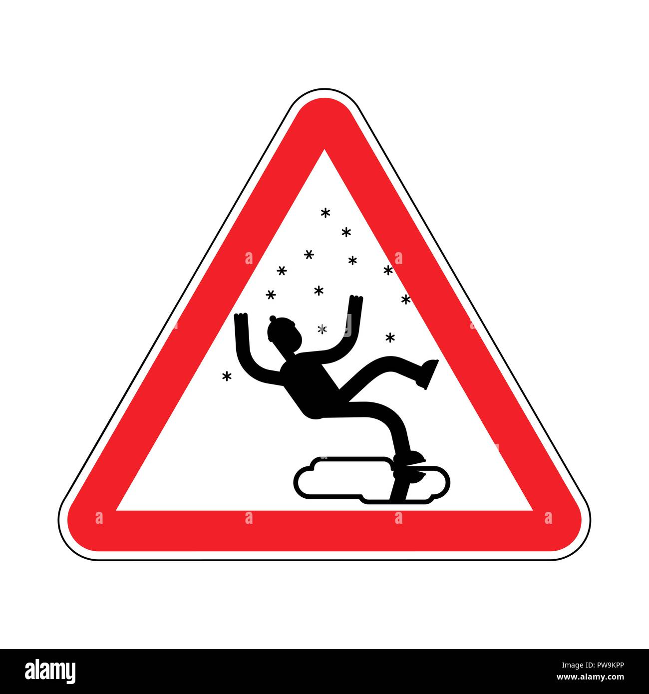 Attention Slippery ice road in winter. Caution Slip on ice. Red road danger sign - Stock Image