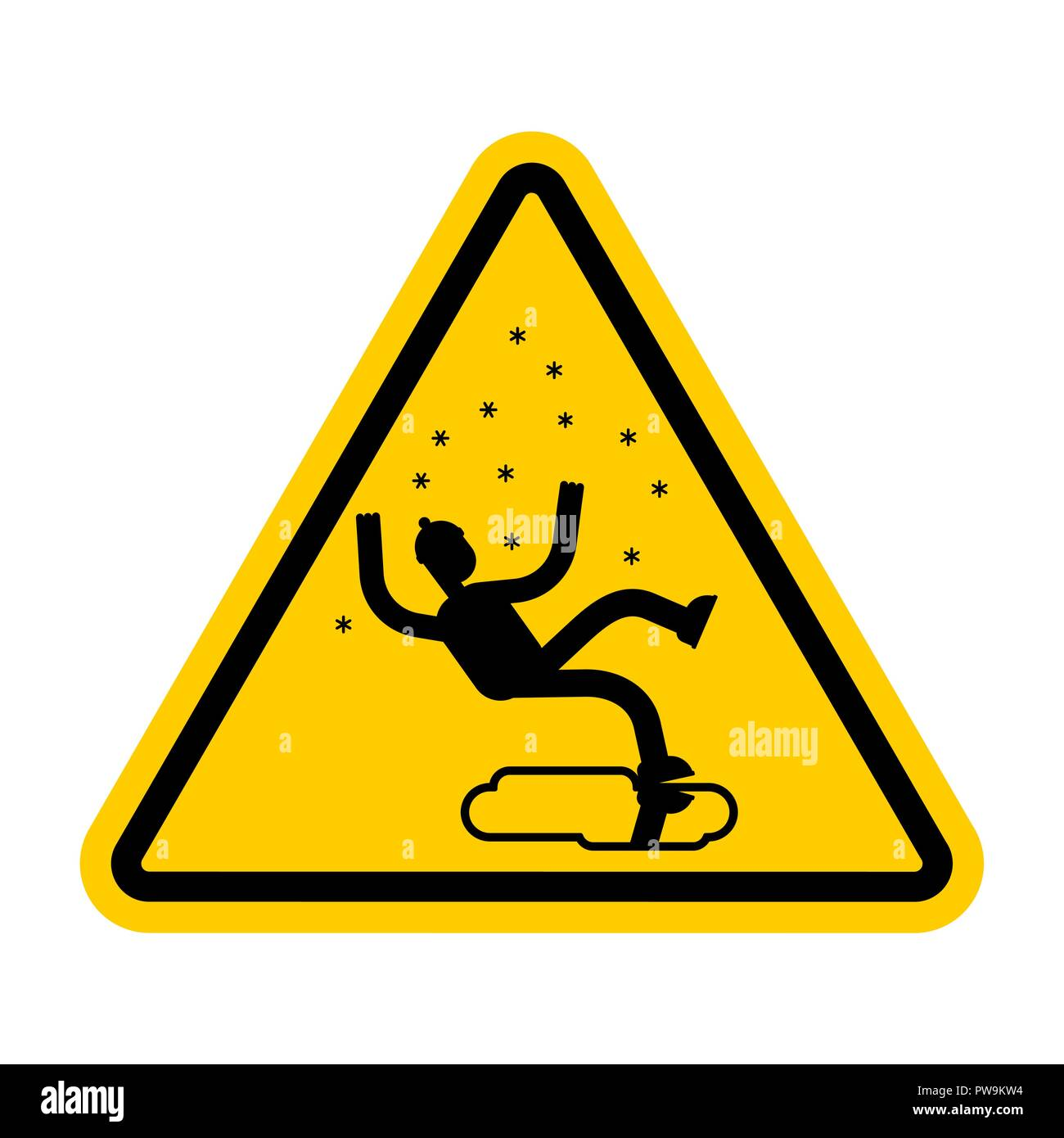 Attention Slippery ice road in winter. Caution Slip on ice. Yellow road danger sign - Stock Image