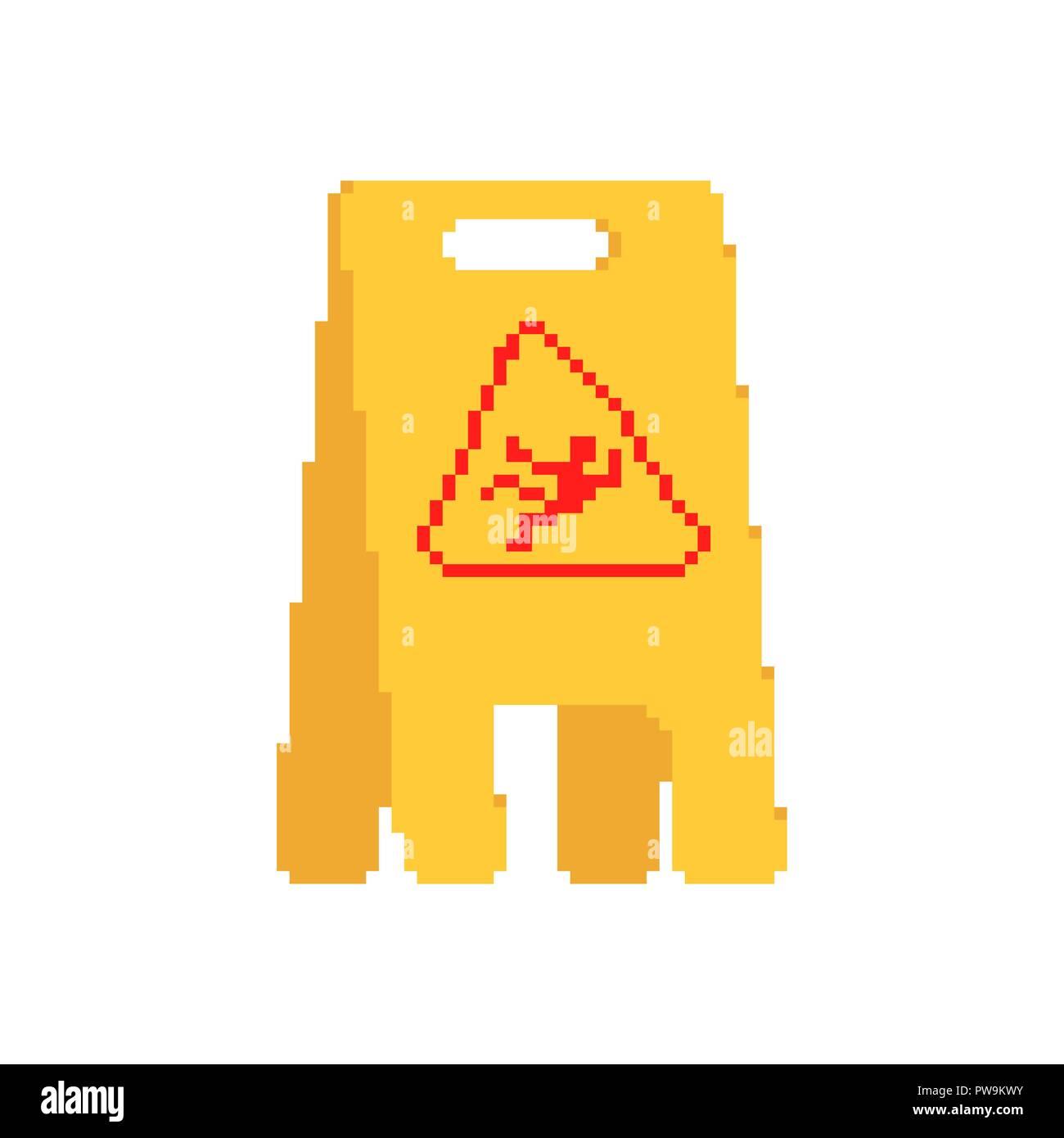 Wet floor yellow sign pixel art. 8 bit caution slippery accident - Stock Image